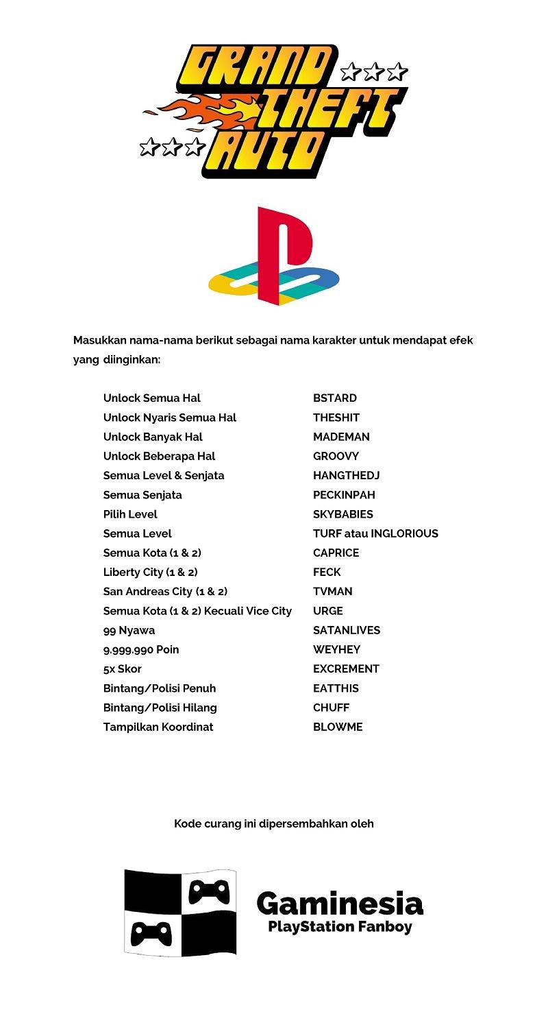 Kode Curang GTA PS1