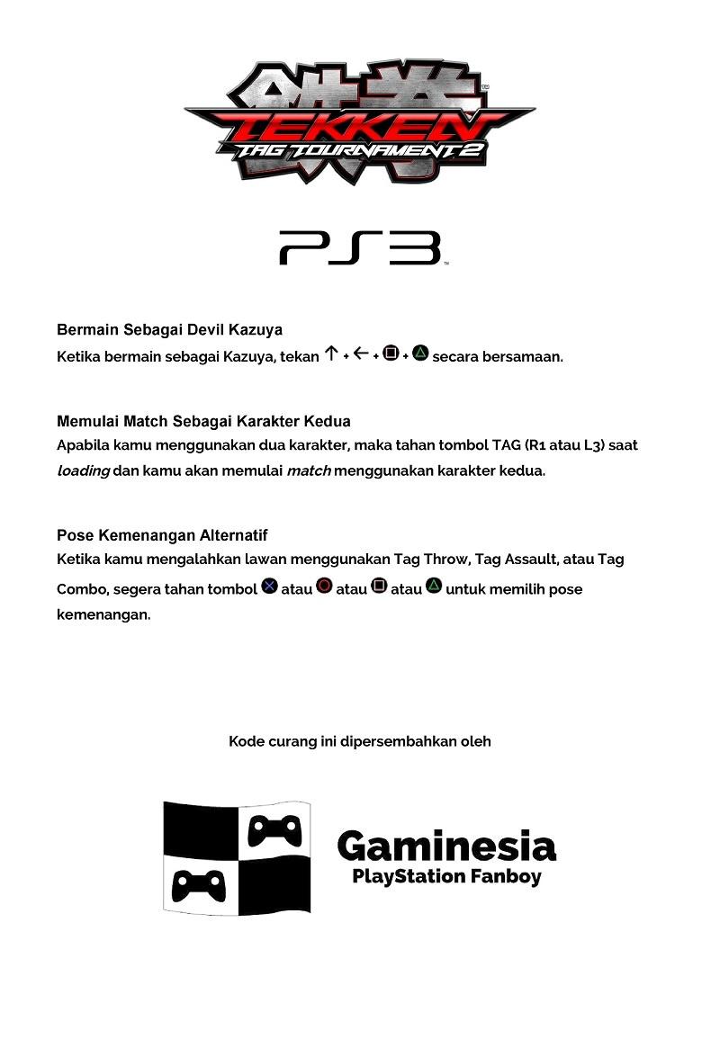 Kode Curang Tekken Tag Tournament 2 [PS3]